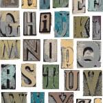 Letterpress Style Alphabet Vector Letters — Stock Vector