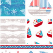 Marine Inspired Vector Seamless Patterns. - Stock Vector