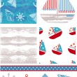 Marine Inspired Vector Seamless Patterns. - Imagen vectorial