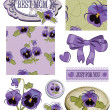 Mother's Day Pansy Flower Scrap Booking Elements and Patterns. — Stock Vector