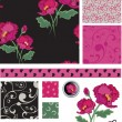 Black and Pink Poppy Vector Patterns — Stock Vector