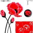 Red Poppy Vector Elements — Stock Vector