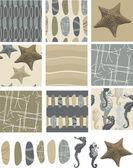 Beach Pebble Vector Seamless Patterns. — Stock Vector