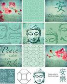 Thai buddha inspiriert grunge-vektor-patchwork-stücke und elemente — Stockvektor