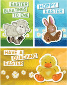 Set of 3 Easter Greeting Cards. — Stock Vector