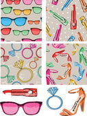 Fun Pop Art inspired Girlie vector patterns and elements. — Stock Vector
