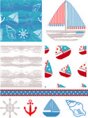 Marine Inspired Vector Seamless Patterns. — Stock Vector