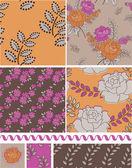 Vettore di stile retrò rosa elementi e motivi floreali. — Vettoriale Stock