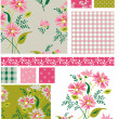 Spring Meadow Floral Seamless Vector Patterns and elements. — Stock Vector