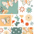 Fun Butterfly Floral Vector Seamless Patterns and Icons. — Stock Vector #22012581