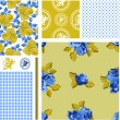 Summer Rose Vector Seamless Patterns and Icons. — Stock Vector