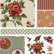 Vintage Style Floral Seamless Vector Patterns and Elements. - Stock Vector