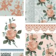 Vintage Rose Floral Seamless Patterns. — Stock Vector #22012877