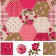 Vintage Inspired Patchwork Rose Seamless Patterns and Icons. — Stock Vector #22013001