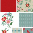Vintage Style Floral Seamless Patterns and Icons. — Stock Vector #22013021