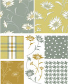 Summer Daisy Seamless Vector Patterns and Icons. — Stock Vector