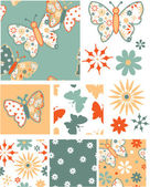 Fun Butterfly Floral Vector Seamless Patterns and Icons. — Stock Vector
