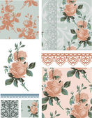 Vintage Rose Floral Seamless Patterns. — Stock Vector