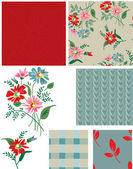Vintage Style Floral Seamless Patterns and Icons. — Stock Vector