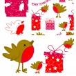 Fun Robin Vector Seamless Patterns and elements. — Stock Vector