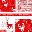 Xmas Reindeer Vector Patterns. — Vettoriale Stock