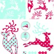 Reindeer Vector Seamless Patterns and Elements. — Stock Vector