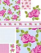 Rose Pattern 9 Vector Patterns. — Stock Vector