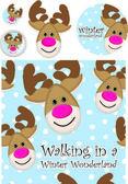 Cute Reindeer Vector Greeting Card — Stock Vector