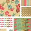 Grunge Style Flower Vector Seamless Patterns and Elements. — Stock Vector #22742891