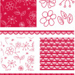 Red Floral Vector Seamless Patterns. — Stock Vector