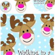 Cute Reindeer Vector Greeting Card — Stock Vector