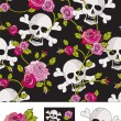 Vector Skull & Roses Seamless Patterns. — Stockvectorbeeld