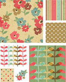 Grunge Style Flower Vector Seamless Patterns and Elements. — Stock Vector