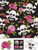 Vector Skull & Roses Seamless Patterns. — Stock Vector