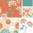 Summer Floral Seamless Vector Patterns. — Stock Vector #27560839