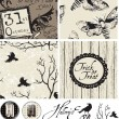 Gothic Bird Halloween Seamless Patterns and Icons. — Stock Vector