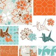 Japanese Inspired Floral Seamless Vector Patterns and Elements. — Stock Vector