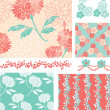 Pastal Floral Vector Seamless Patterns and Elements. — Stock Vector