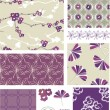 Purple Blossom Floral Vector Seamless Patterns. — Stock Vector #27560921