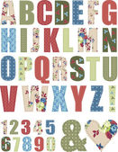 Floral Vector Pattern Alphabet Letter Set — Stock Vector