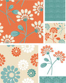 Summer Floral Seamless Vector Patterns. — Stock Vector
