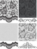 Gothic Style Lace Vector Floral Seamless Patterns. — Stock Vector