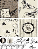 Gothic Bird Halloween Seamless Patterns and Icons. — Stok Vektör