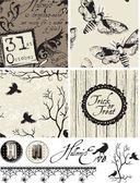 Gotiska fågel halloween seamless mönster och ikoner. — Stockvektor