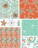 Modern Floral Vector Seamless Patterns. — Stock Vector