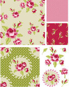 New Rose Floral Vector Seamless Patterns. — Stock Vector