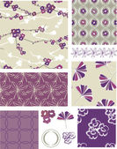 Purple Blossom Floral Vector Seamless Patterns. — Stock Vector