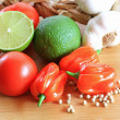Mexican vegetables including lime fruit, garlic, chili — Stock Photo