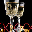 Two Glasses of champagne with  ribbons — Stock Photo
