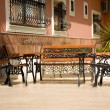 Garden Furniture --  chairs and table, on a nice patio — Stock Photo